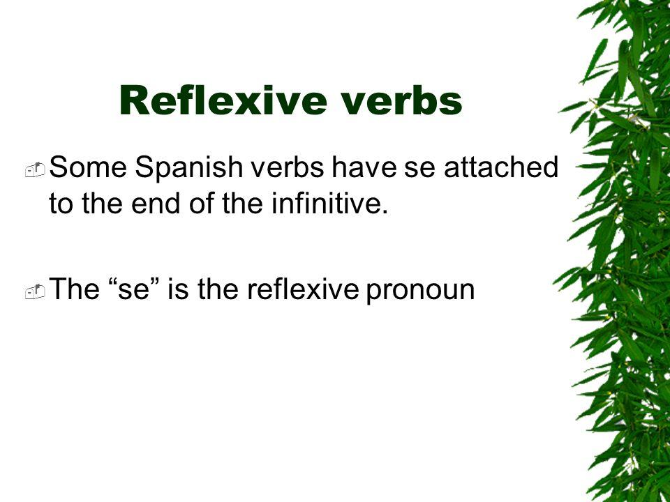 Reflexive verbs Some Spanish verbs have se attached to the end of the infinitive.