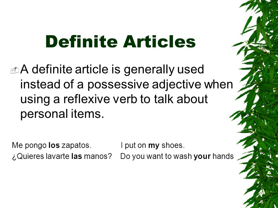Definite ArticlesA definite article is generally used instead of a possessive adjective when using a reflexive verb to talk about personal items.