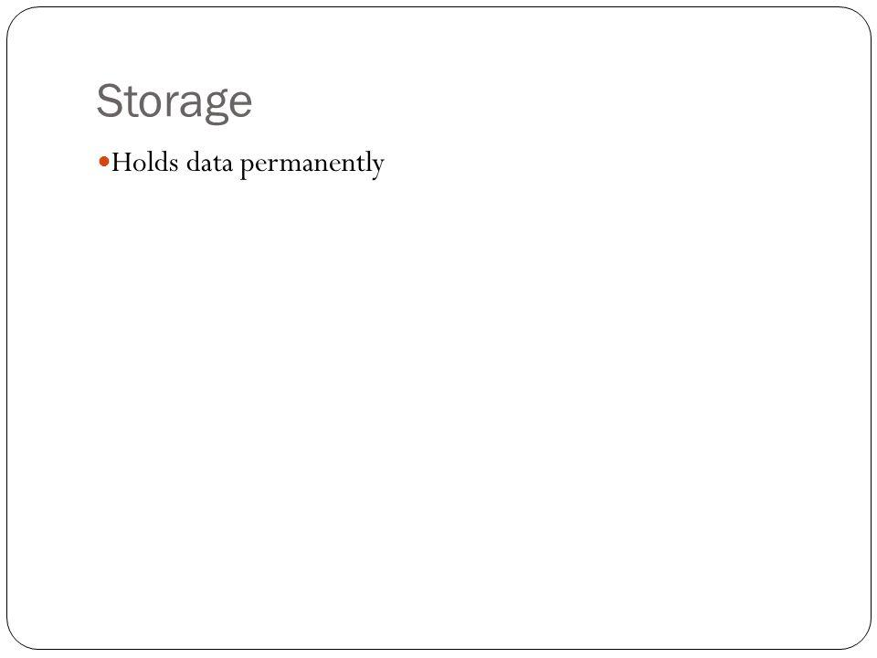 Storage Holds data permanently