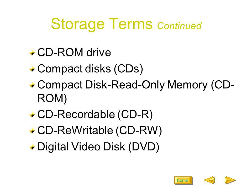 Storage Terms Continued