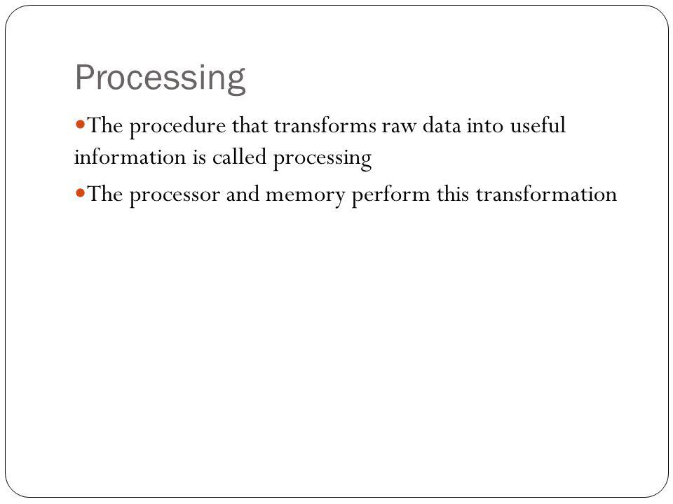 Processing The procedure that transforms raw data into useful information is called processing.