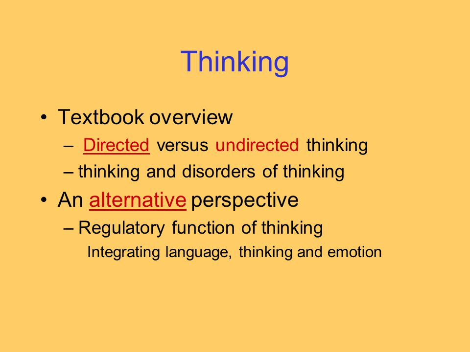 Thinking Textbook overview An alternative perspective