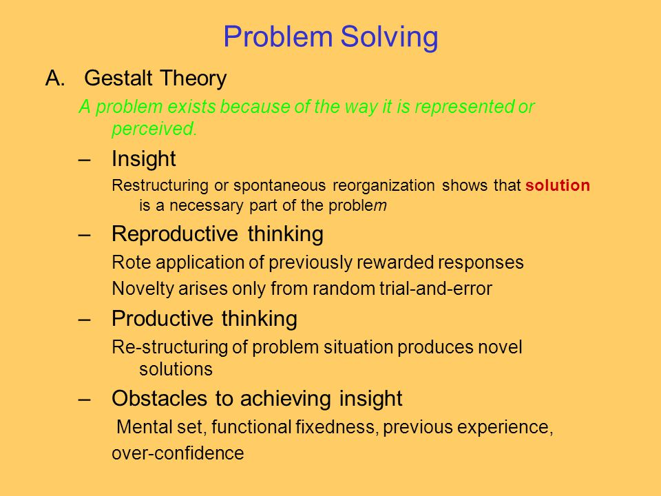 Problem Solving Gestalt Theory Insight Reproductive thinking