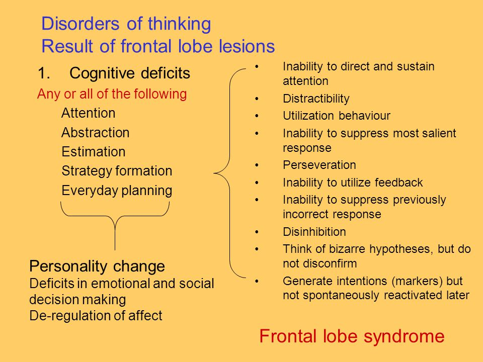 Disorders of thinking Result of frontal lobe lesions