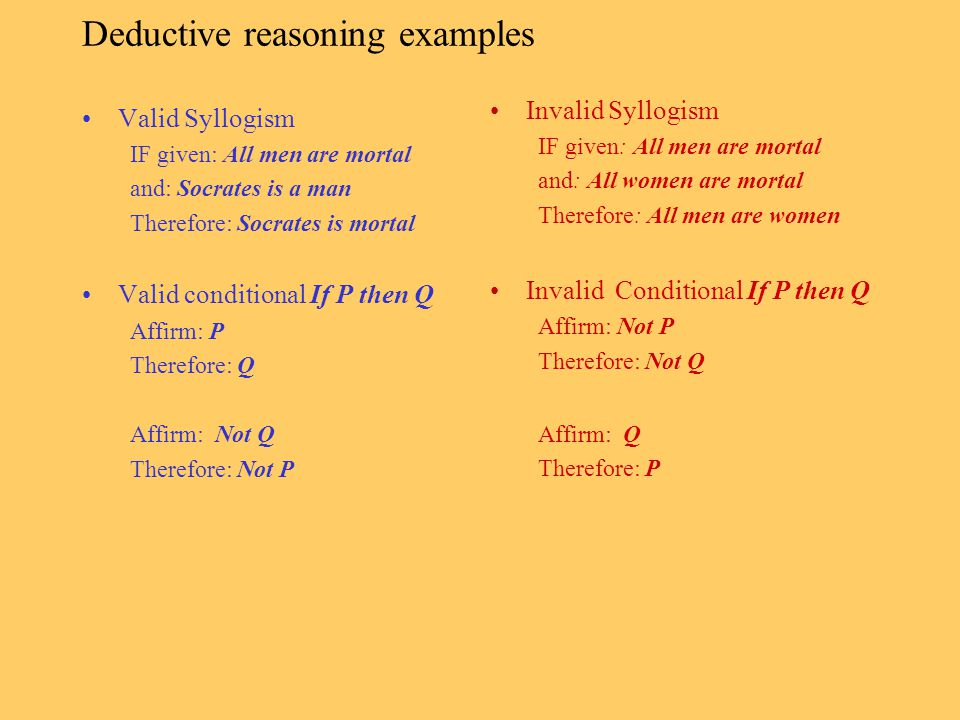 Deductive reasoning examples
