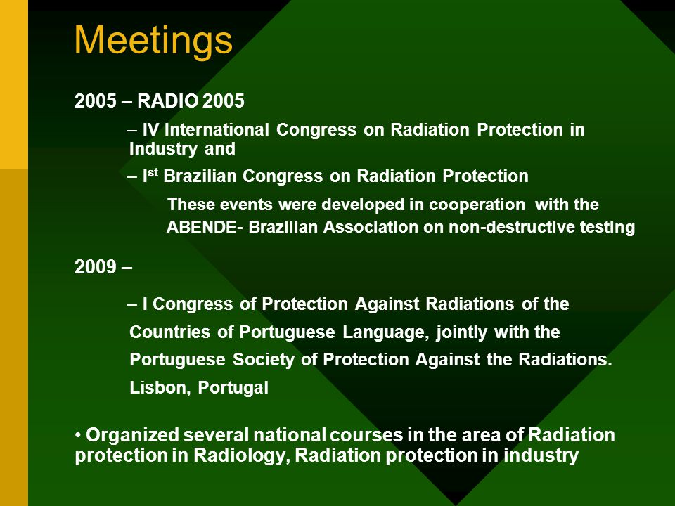 Meetings 2005 – RADIO 2005. IV International Congress on Radiation Protection in Industry and. Ist Brazilian Congress on Radiation Protection.