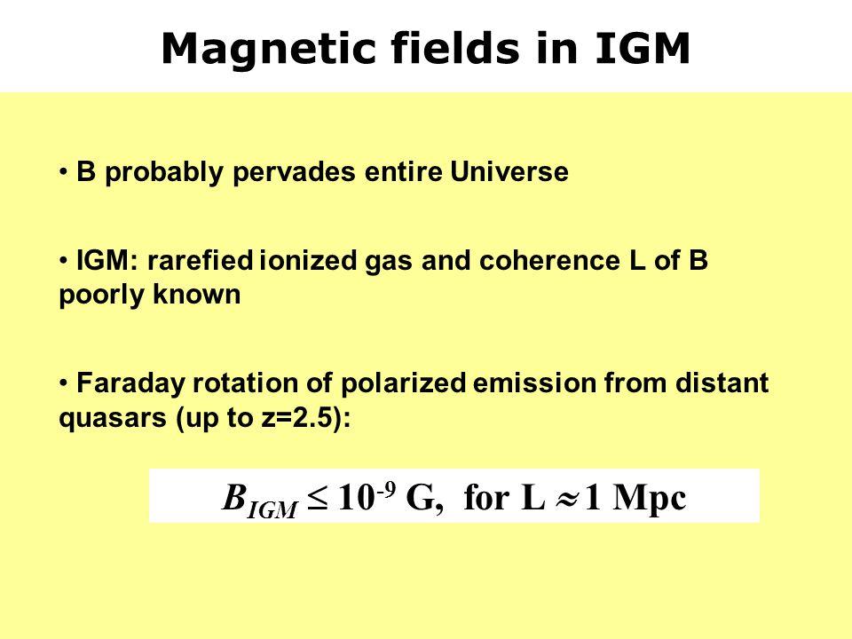 Magnetic fields in IGM BIGM  10-9 G, for L  1 Mpc
