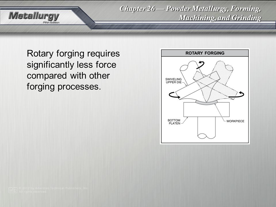 Rotary forging requires significantly less force compared with other forging processes.