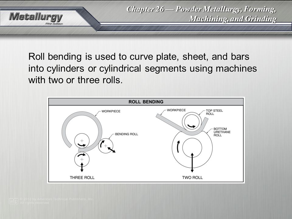 Roll bending is used to curve plate, sheet, and bars into cylinders or cylindrical segments using machines with two or three rolls.