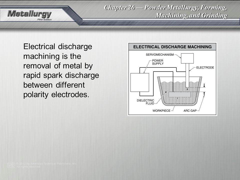 Electrical discharge machining is the removal of metal by rapid spark discharge between different polarity electrodes.