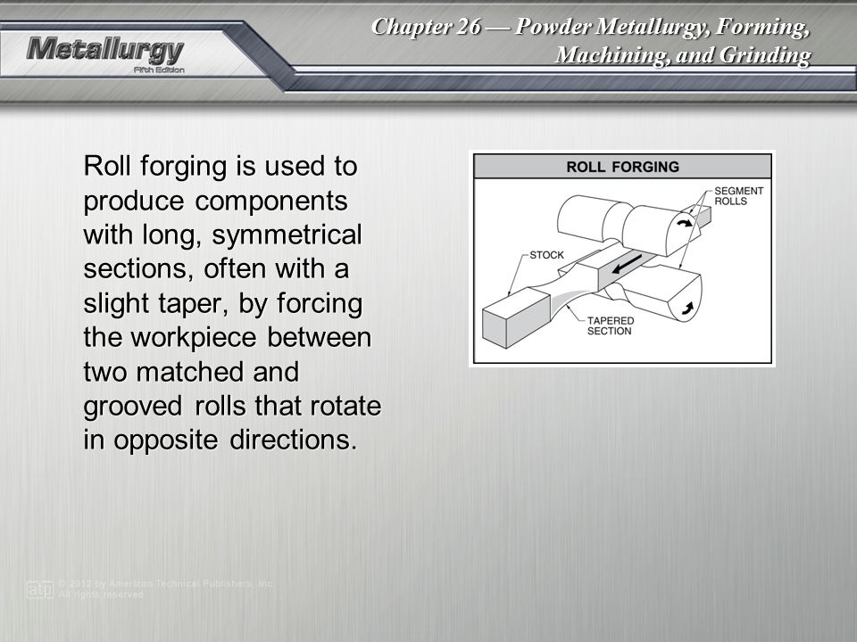 Roll forging is used to produce components with long, symmetrical sections, often with a slight taper, by forcing the workpiece between two matched and grooved rolls that rotate in opposite directions.