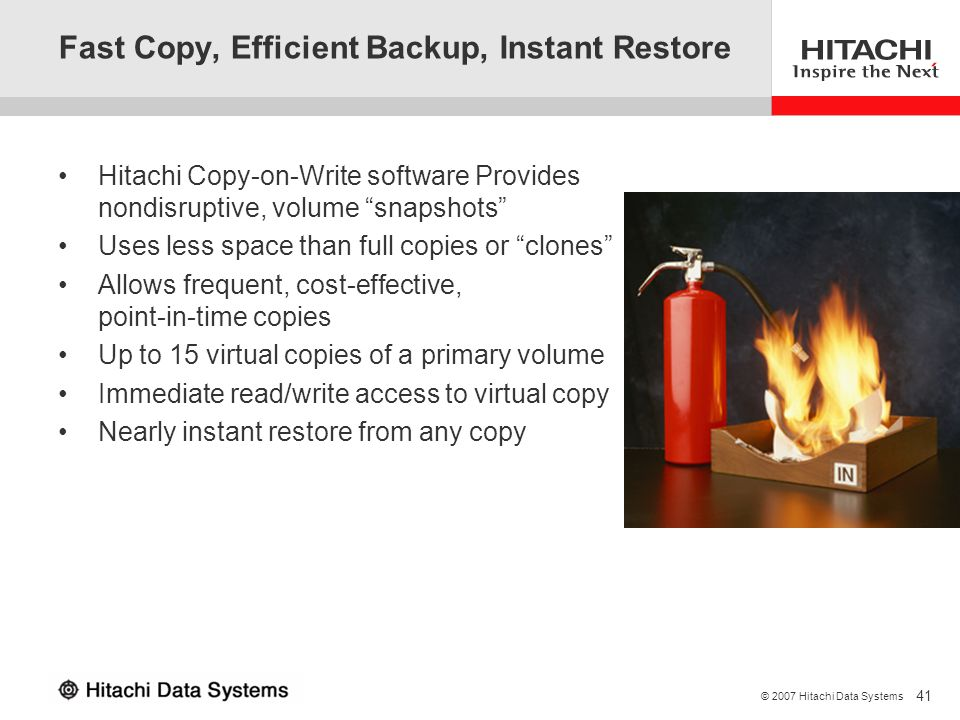 Fast Copy, Efficient Backup, Instant Restore