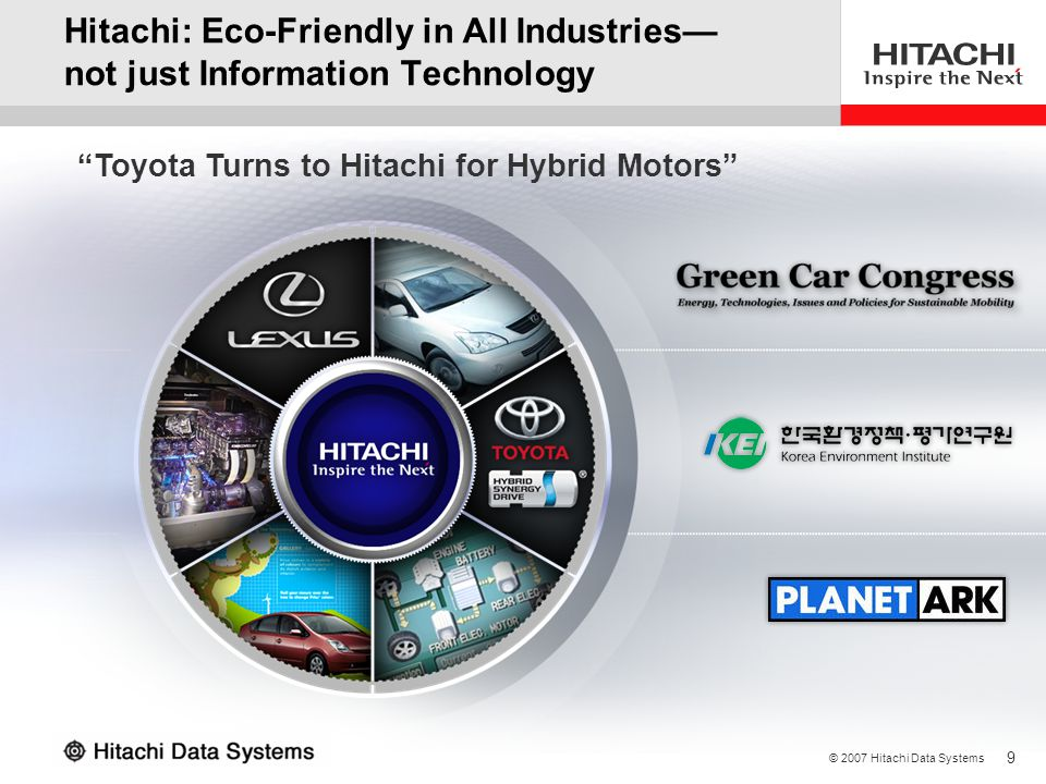3/31/2017 Hitachi: Eco-Friendly in All Industries— not just Information Technology.