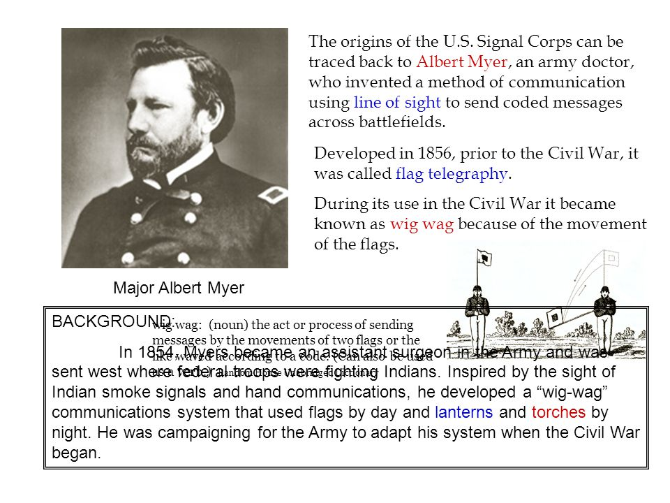 The origins of the U.S. Signal Corps can be traced back to Albert Myer, an army doctor, who invented a method of communication using line of sight to send coded messages across battlefields.
