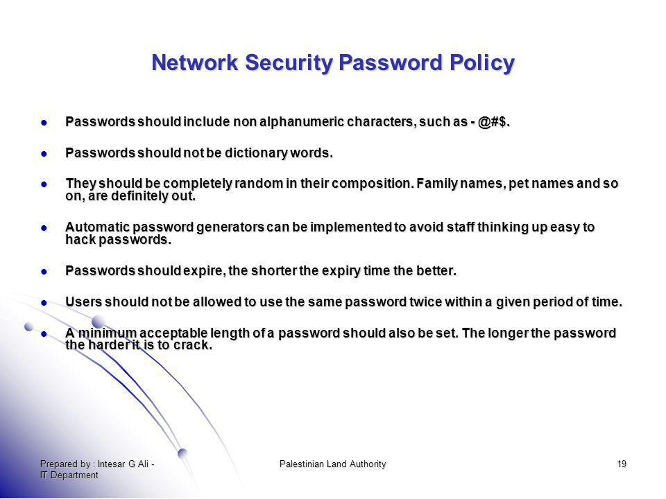 Network Security Password Policy
