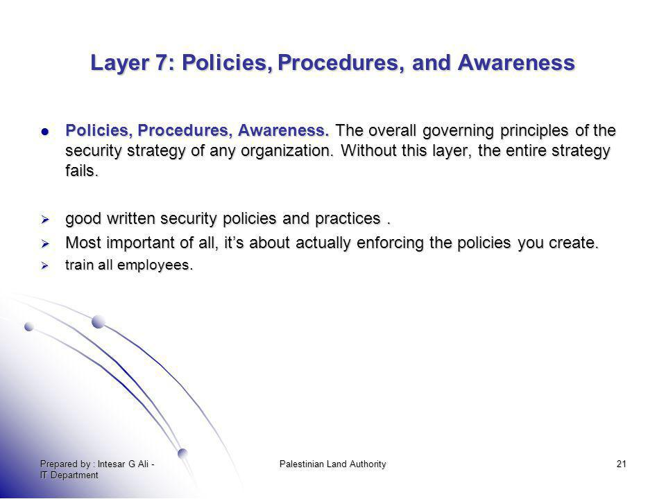 Layer 7: Policies, Procedures, and Awareness