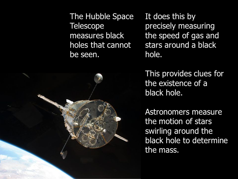 The Hubble Space Telescope measures black holes that cannot be seen.