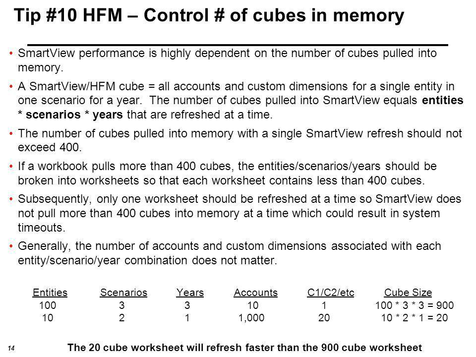 Tip #10 HFM – Control # of cubes in memory
