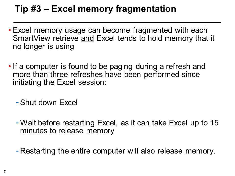 Tip #3 – Excel memory fragmentation
