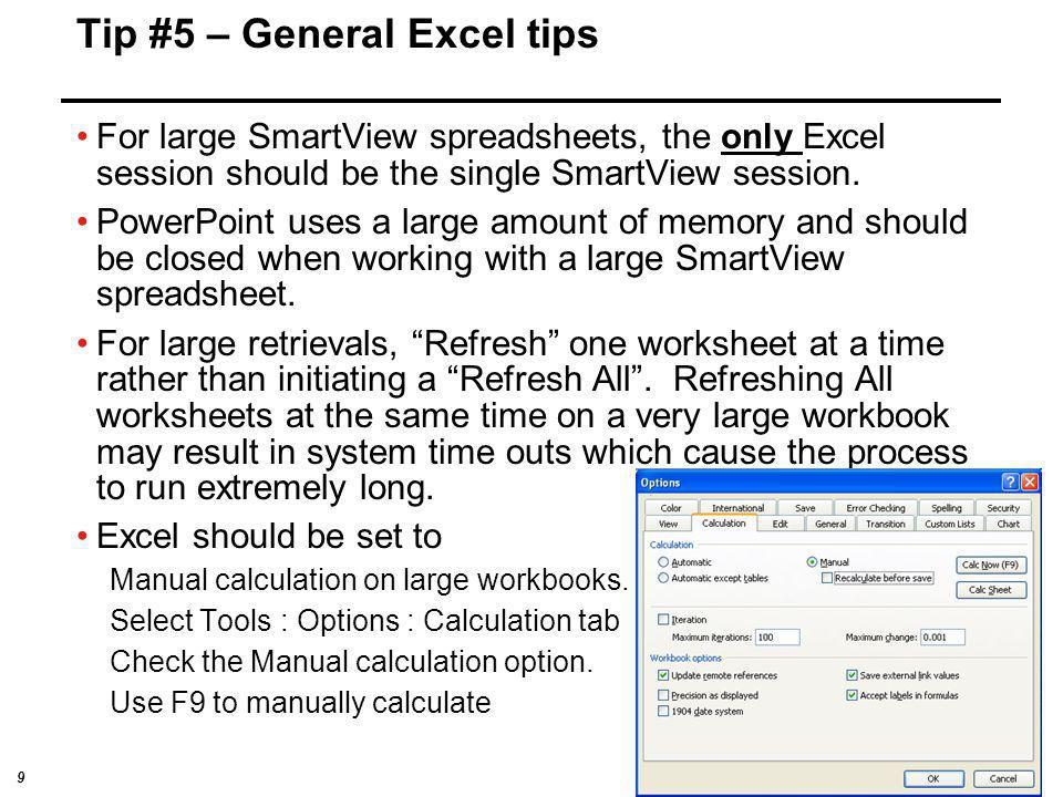 Tip #5 – General Excel tips