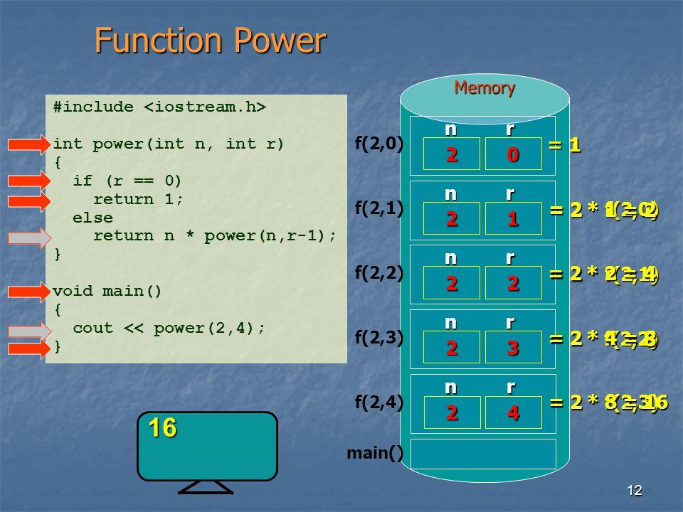 Function Power 16 n 2 r = 1 1 n 2 r 1 = 2 * 1 = 2 = 2 * f(2,0) 2 n 2 r