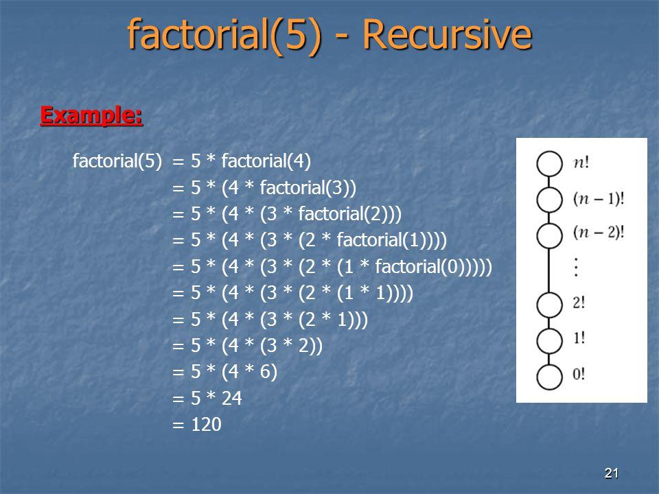 factorial(5) - Recursive