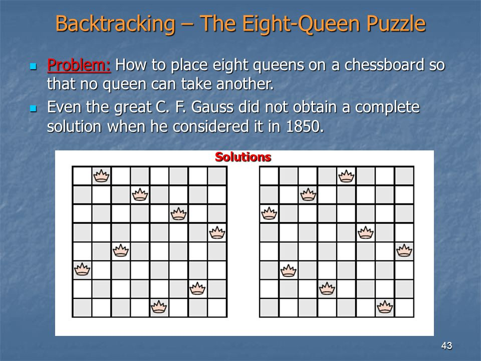 Backtracking – The Eight-Queen Puzzle
