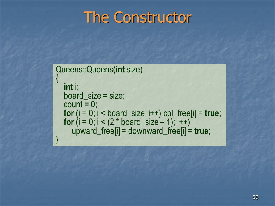 The Constructor Queens::Queens(int size) { int i; board_size = size;