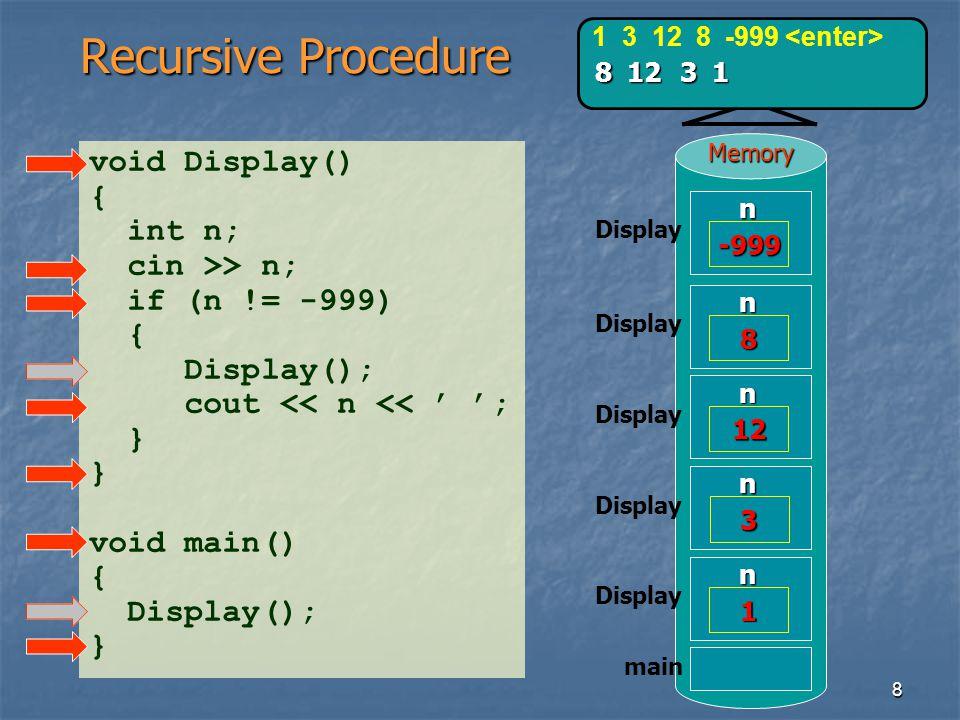 Recursive Procedure void Display() { int n; cin >> n;