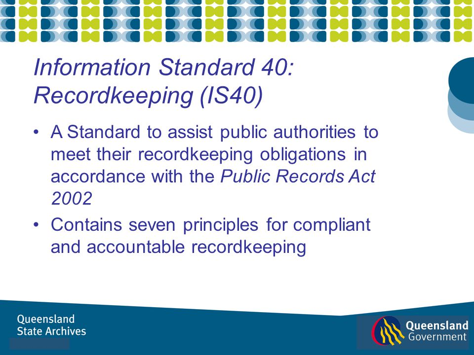 Information Standard 40: Recordkeeping (IS40)