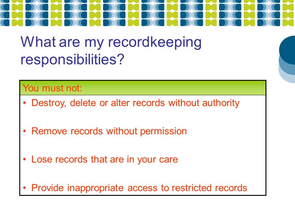 What are my recordkeeping responsibilities