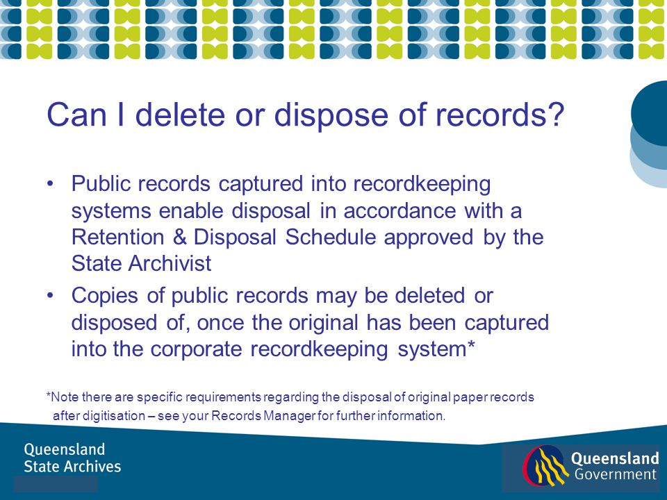 Can I delete or dispose of records