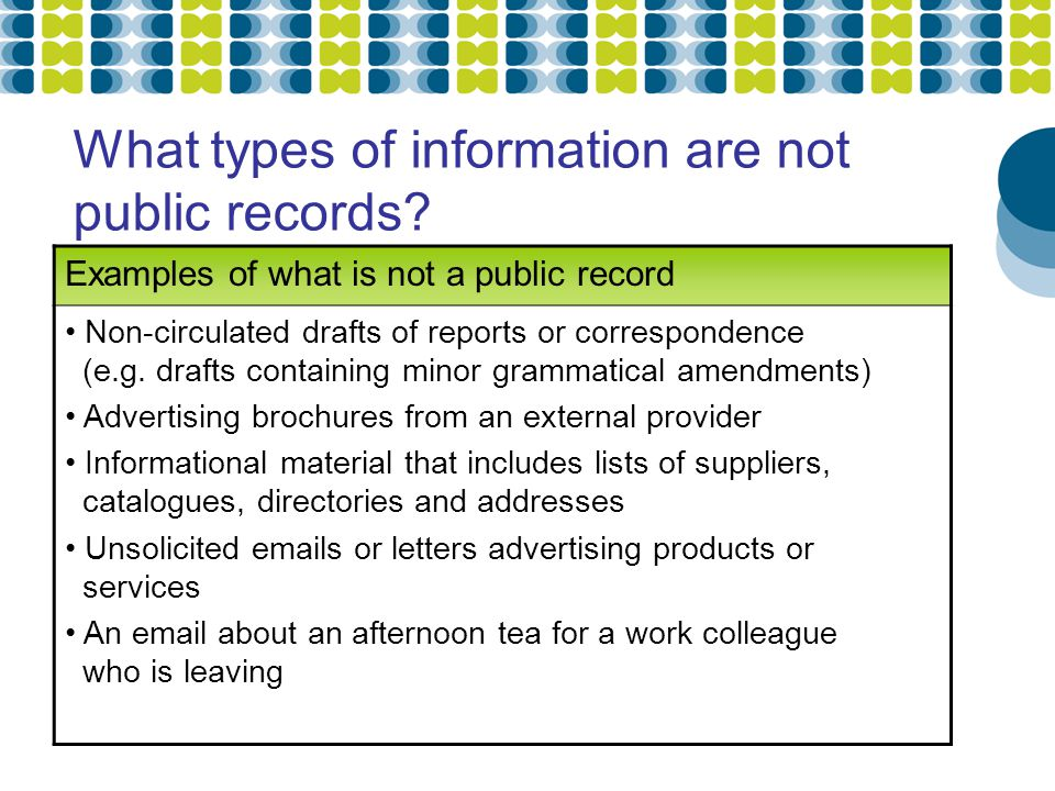 What types of information are not public records