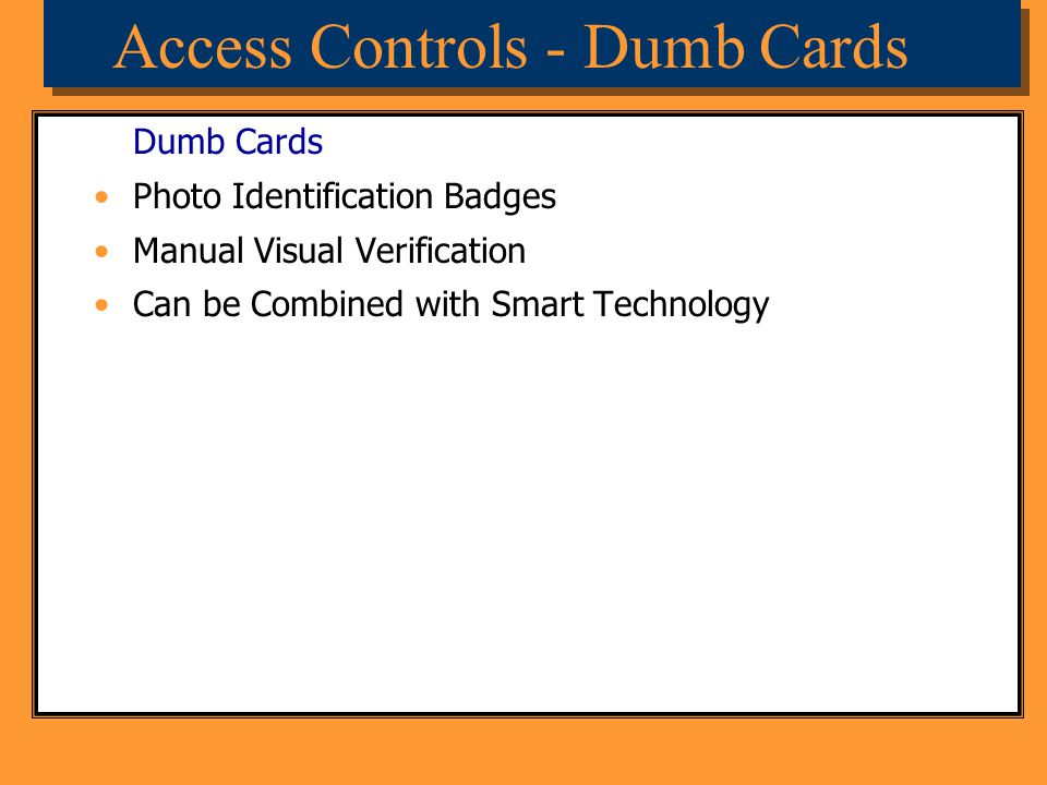 Access Controls - Dumb Cards