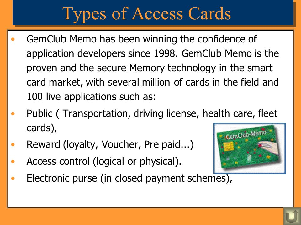 Types of Access Cards
