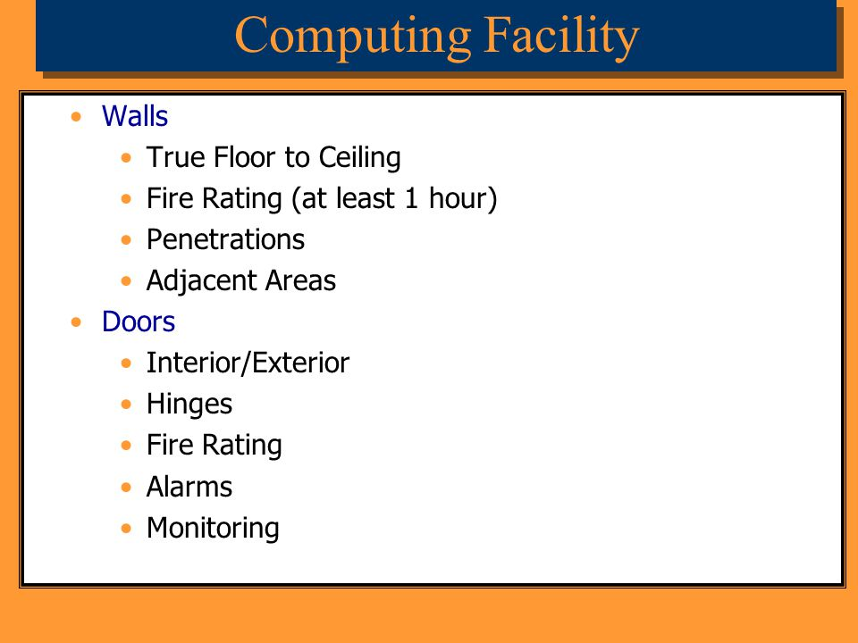 Computing Facility Walls True Floor to Ceiling