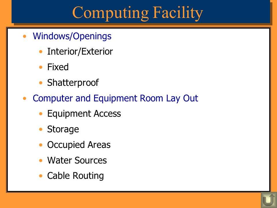 Computing Facility Windows/Openings Interior/Exterior Fixed