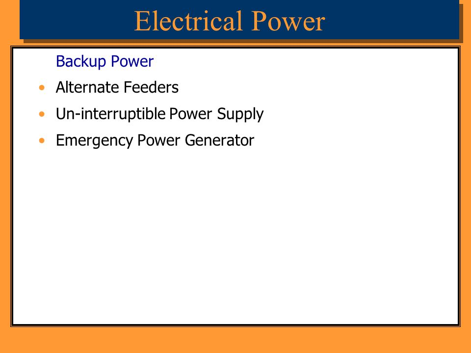 Electrical Power Backup Power Alternate Feeders
