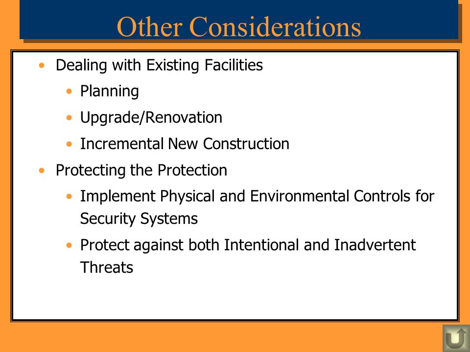 Other Considerations Dealing with Existing Facilities Planning