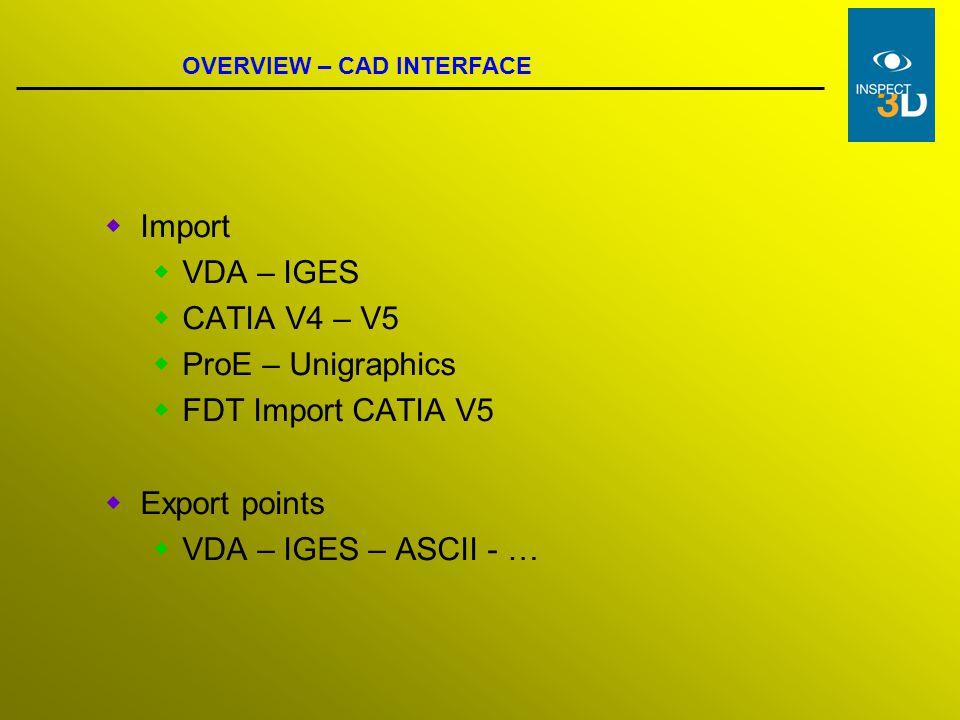 Import VDA – IGES CATIA V4 – V5 ProE – Unigraphics FDT Import CATIA V5
