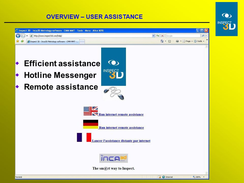 Efficient assistance Hotline Messenger Remote assistance