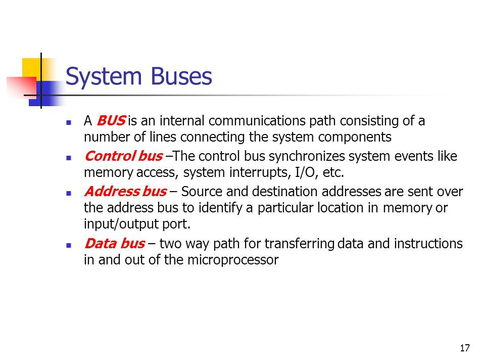 System Buses A BUS is an internal communications path consisting of a number of lines connecting the system components.