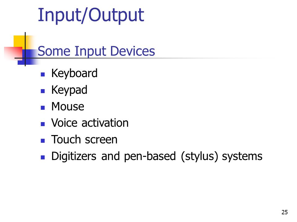 Input/Output Some Input Devices