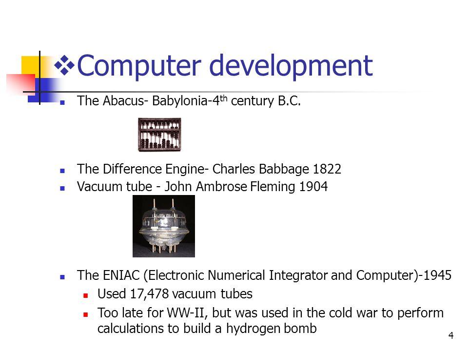 Computer development The Abacus- Babylonia-4th century B.C.