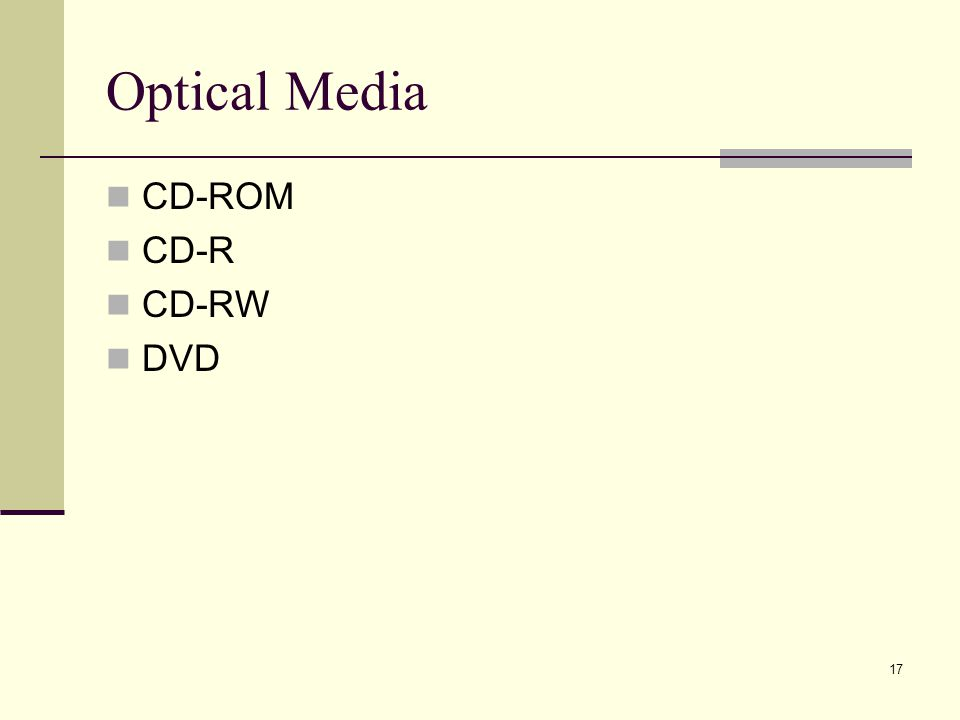 Optical Media CD-ROM CD-R CD-RW DVD
