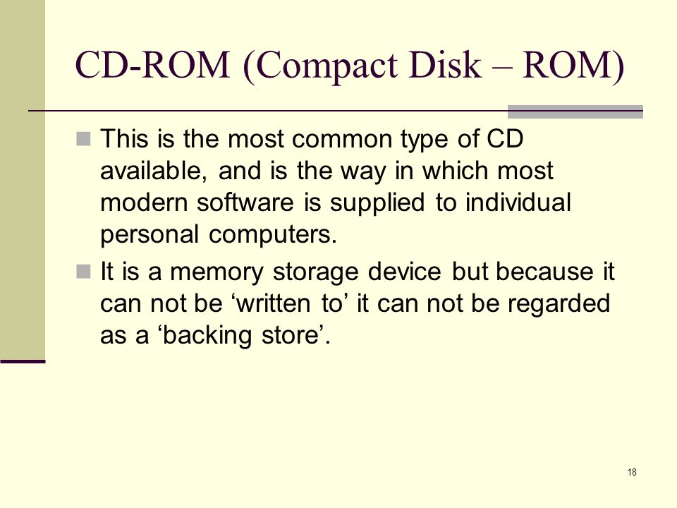 CD-ROM (Compact Disk – ROM)