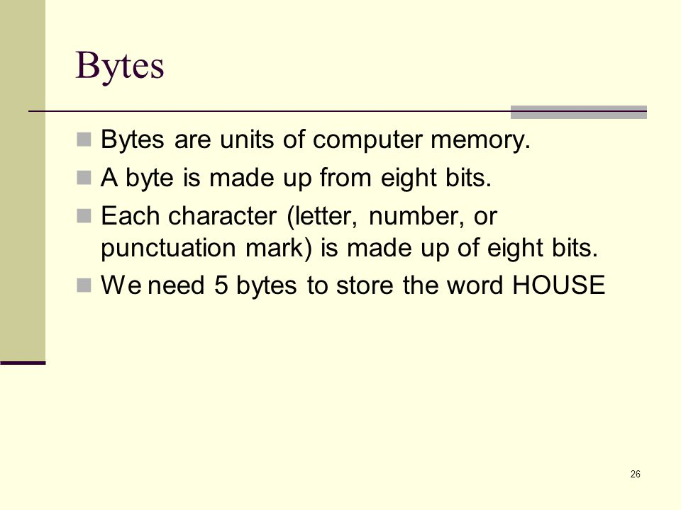 Bytes Bytes are units of computer memory.