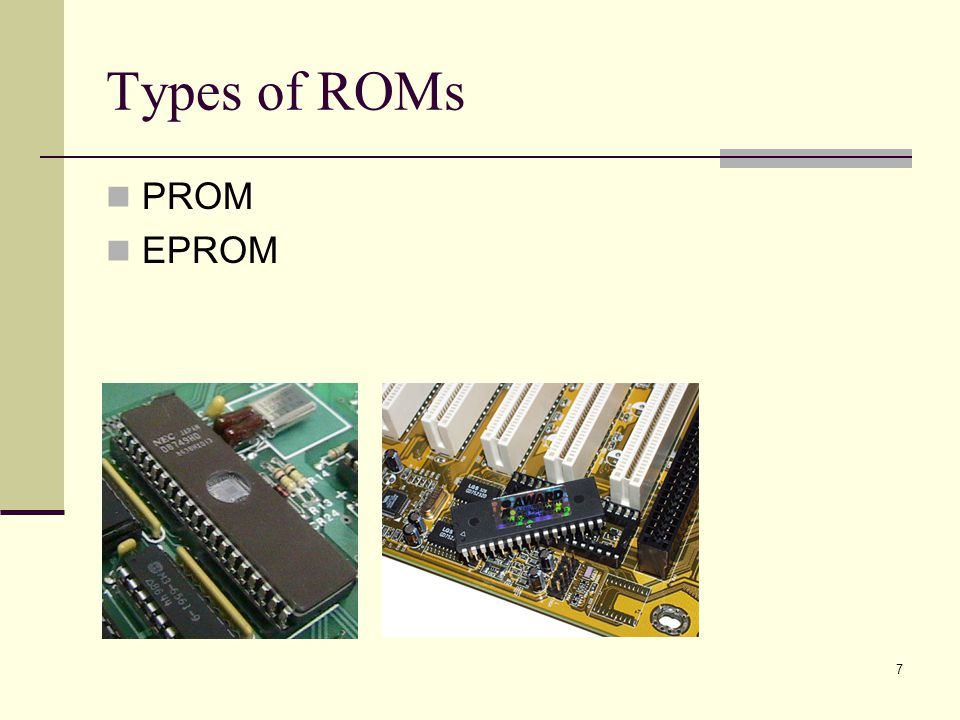 Types of ROMs PROM EPROM