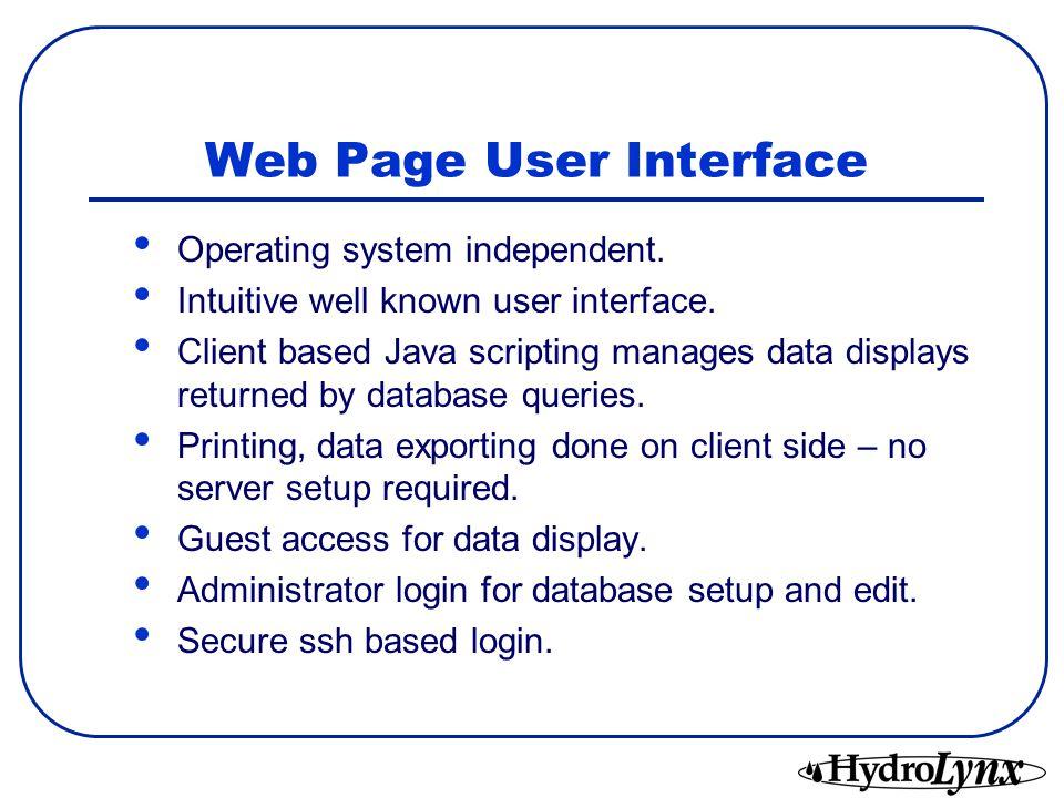 Web Page User Interface