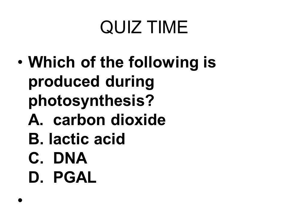 QUIZ TIME Which of the following is produced during photosynthesis A. carbon dioxide B. lactic acid C. DNA D. PGAL.